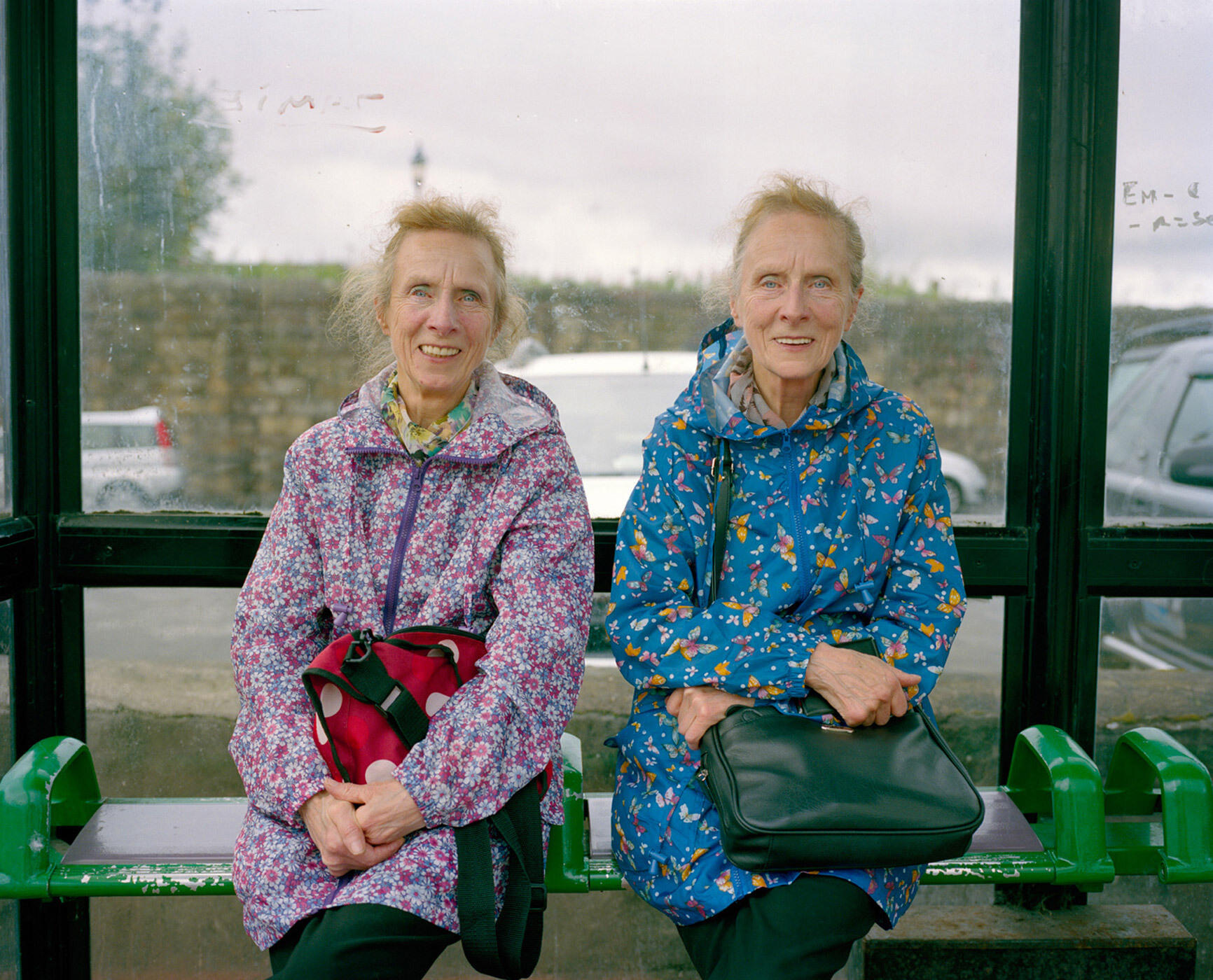 Twins At The Bus Stop, Flint, North Wales - July 2016